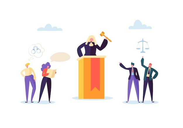 Concepto de ley y justicia con personajes y elementos judiciales, lawbook, lawyer. juez con mazo en la sala de audiencias y los miembros del jurado de la corte.