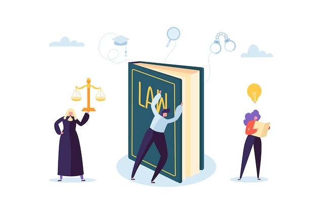 Concepto de ley y justicia con personajes y elementos judiciales, lawbook, lawyer. juzgamiento y personal del jurado del tribunal.