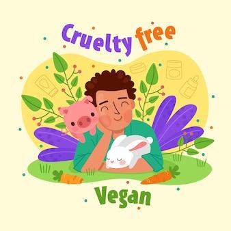 Concepto libre de crueldad y vegano dibujado a mano