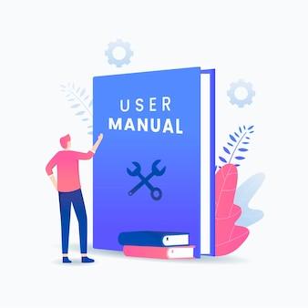 Concepto de libro manual de usuario.