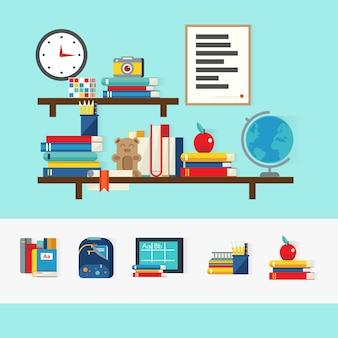 Concepto de libros escolares