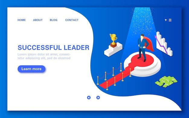 Concepto líder exitoso. un hombre en un pedestal con una alfombra roja rodeado de sus logros.