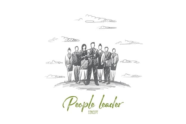 Concepto de líder de personas. dibujado a mano grupo de empresarios con líder en la parte delantera. ilustración aislada del hombre de negocios acertado.
