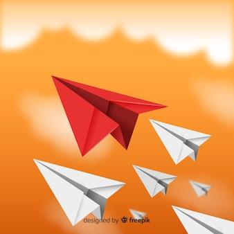 Concepto de liderazgo y aviones de papel