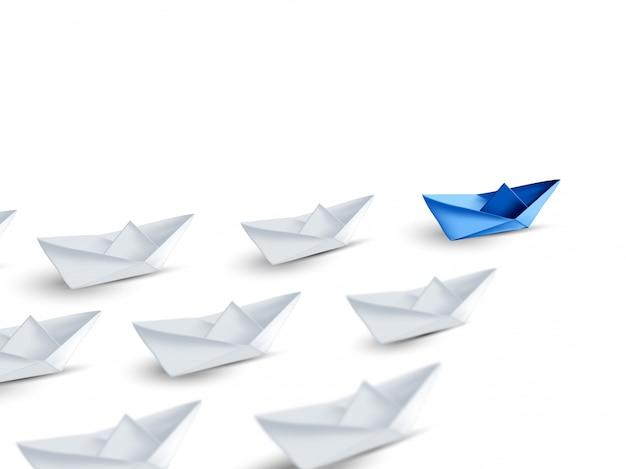 Concepto de liderazgo, barco de papel azul, destacando entre la multitud de blanco. jefe de equipo, renderizado 3d
