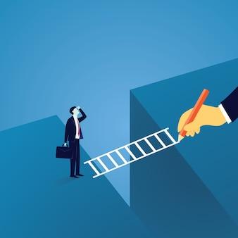 Concepto de liderazgo desafío empresarial. empresario llevado a través de un desafío de brecha por líder de mano gigante