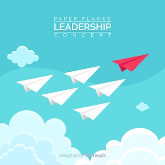 Concepto de liderazgo y diseño de aviones de papel