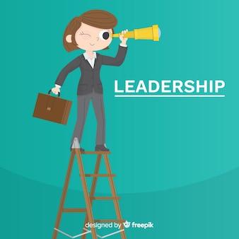 Concepto de liderazgo en diseño flat