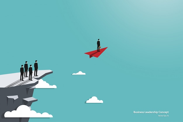Concepto de liderazgo empresarial y avión de papel