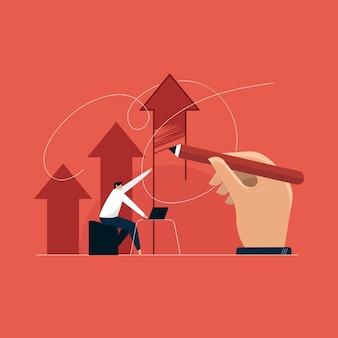 Concepto de liderazgo empresarial moderno, flecha de crecimiento empresarial