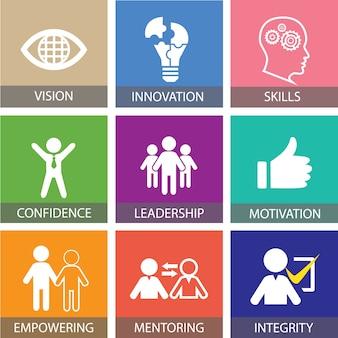 Concepto de liderazgo empresarial. tipografía del icono de la gente del líder