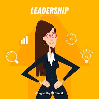 Concepto de liderazgo en estilo flat