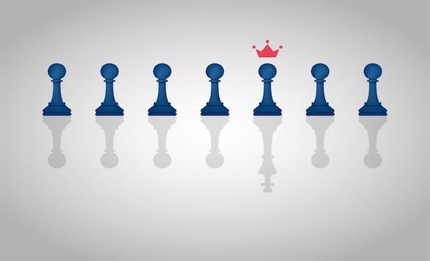 Concepto de liderazgo con un grupo de piezas de peón de ajedrez con una sola pieza proyectando una sombra de una ilustración de rey.