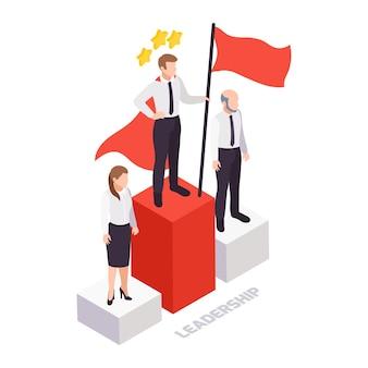 Concepto de liderazgo de habilidades blandas isométrico con tres empresarios de pie en el podio