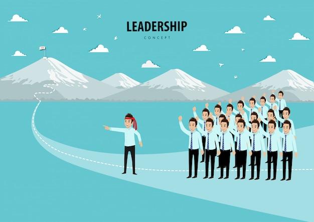 Concepto de liderazgo con personaje de dibujos animados del equipo con personas que van a la meta