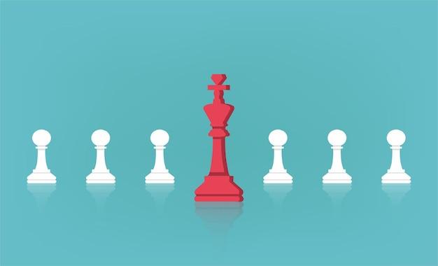 Concepto de liderazgo con el rey del ajedrez frente a la ilustración de la línea de peones.