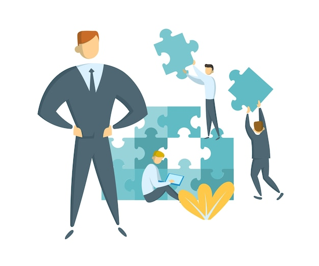Concepto de liderazgo y trabajo en equipo. líder que guía a su equipo hacia el éxito. empresarios con piezas de rompecabezas gigantes. idea de asociación y colaboración. ilustración plana. aislado.