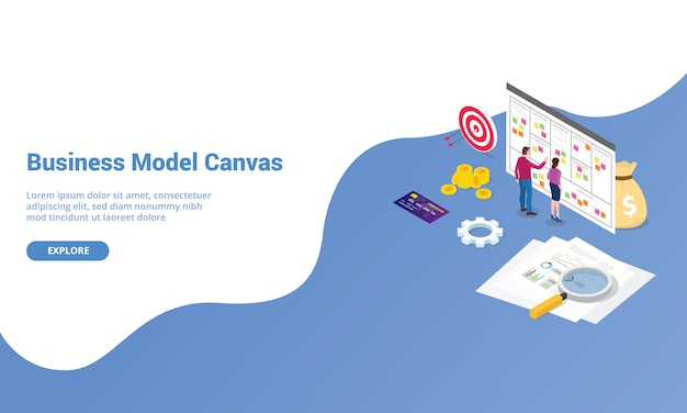Concepto de lienzo de modelo de negocio para la página de inicio de aterrizaje de plantilla