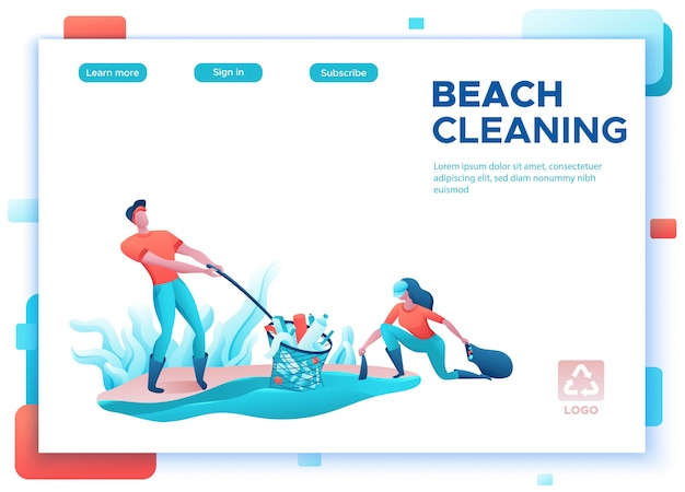 Concepto de limpieza de costa de playa, limpieza de personas con bolsa
