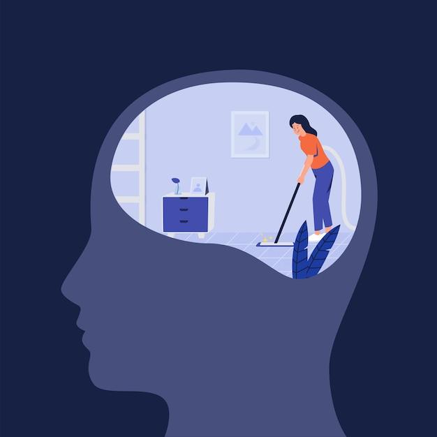 Concepto de limpieza y purificación del espacio interior para la purificación de la salud mental autocurativa
