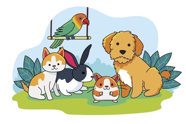 Concepto de lindas mascotas diferentes