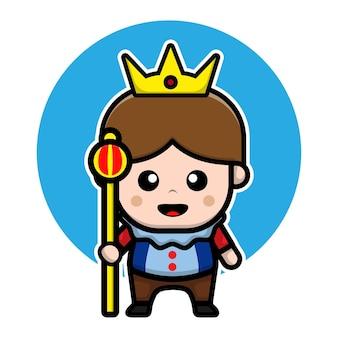Concepto lindo del vector del reino de la ilustración del personaje de dibujos animados del príncipe