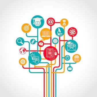 El concepto en línea del árbol de la educación con los iconos de los recursos de entrenamiento del aprendizaje electrónico vector el ejemplo