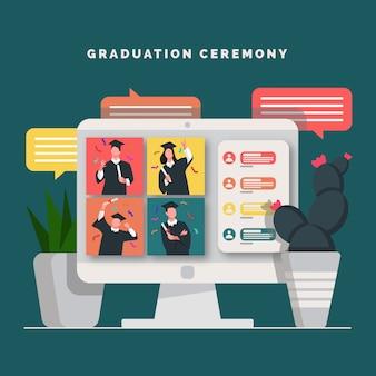 Concepto en línea de ceremonia de graduación