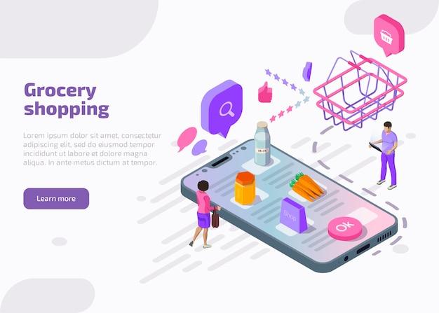 Concepto en línea de compras de comestibles.