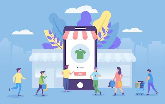 Concepto en línea de compras en la ilustración de la aplicación móvil para marketing.