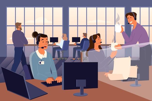Concepto de línea directa de apoyo psicológico. oficina del servicio de asistencia psicológica. los voluntarios ayudan a las personas con sus problemas. concepto de salud mental. ilustración