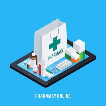 Concepto en línea de la farmacia de la tableta