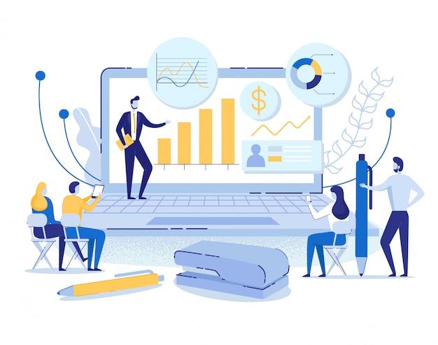 Concepto en línea, el hombre conduce la presentación en la computadora portátil