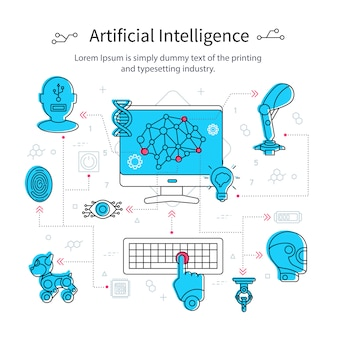 Concepto de línea de inteligencia artificial