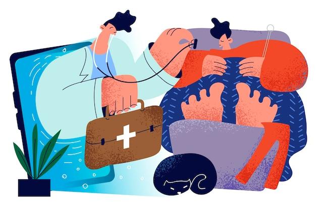 Concepto en línea de medicina de telesalud de atención médica