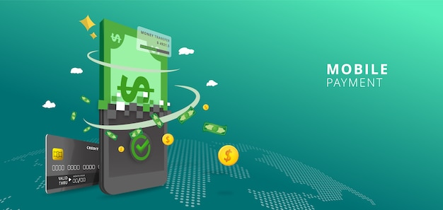 Concepto en línea de pago en línea. pagos por internet, transferencia de dinero de protección móvil en el fondo del mapa mundial, ilustración del banco en línea
