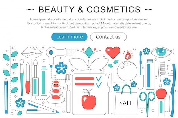 Concepto de línea plana de belleza y cosmética.