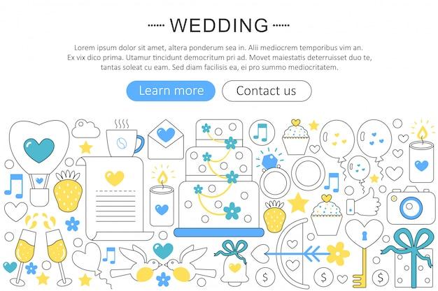 Concepto de línea plana de boda