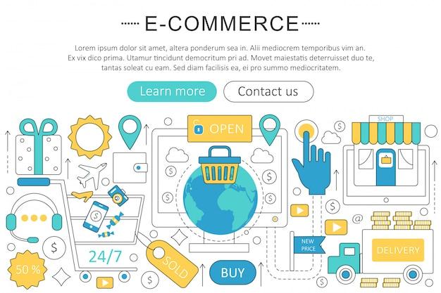 Concepto de línea plana de comercio electrónico.