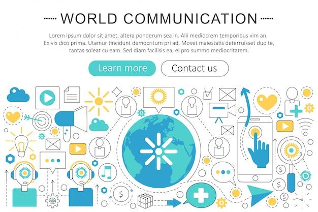 Concepto de línea plana de comunicación mundial.