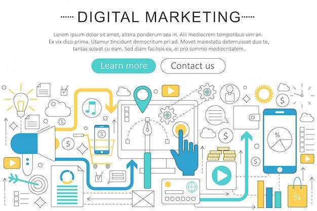 Concepto de línea plana de marketing digital.