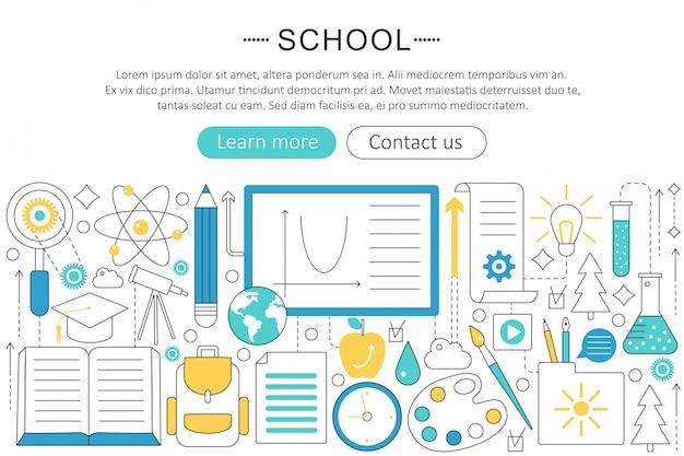 Concepto de línea plana de regreso a la escuela.