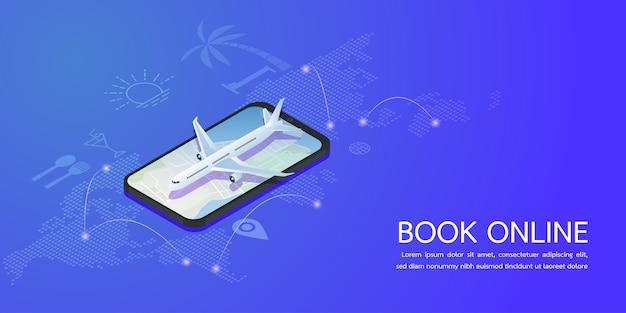 Concepto en línea de reserva vacaciones de verano. ilustración vectorial