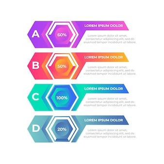 Concepto de línea de tiempo de infografía gradiente