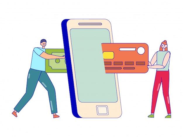 Concepto en línea de transferencia de dinero. hombre y mujer con factura verde y tarjeta de crédito cerca de smartphone aislado en blanco
