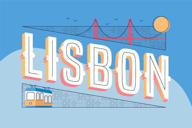 Concepto de lisboa de letras de ciudad
