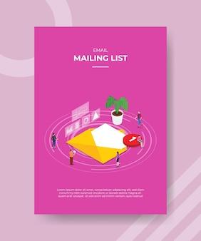 Concepto de lista de correo para plantilla.