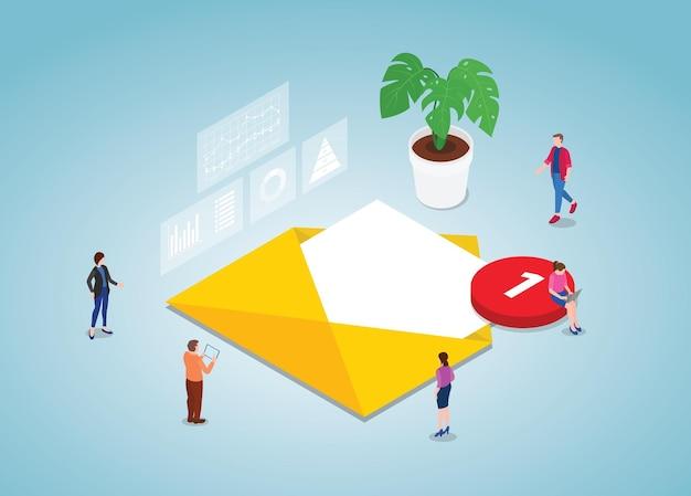Concepto de lista de correo con trabajo en equipo de personas con estilo isométrico moderno