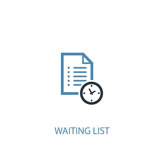 Concepto de lista de espera 2 icono de color. ilustración simple elemento azul. diseño de símbolo de concepto de lista de espera. se puede utilizar para ui / ux web y móvil