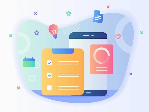 Concepto de lista de tareas lista para hacer lista de verificación calendario smartphone con estilo plano.